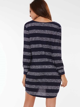 Stylish Stripe V-Neck Loose Cardigan