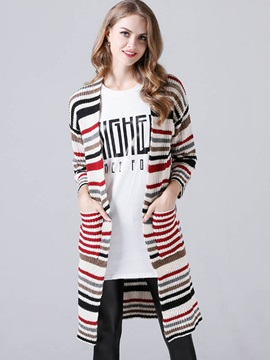 Styllish Color Block Mid-Length Cardigan