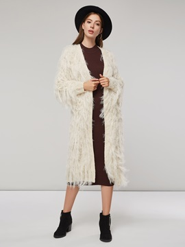 Open Front Mid Length Faux Fur Patchwork Women's Cardigan