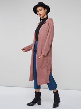 Plain Long Sleeve Wrapped Women's Knitted Cardigan