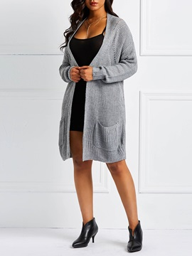 Wrapped Loose Mid-Length Women's Knitted Cardigan