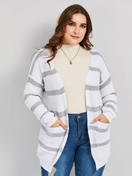 Striped Wrapped Loose Long Sleeve Women's Cardigan