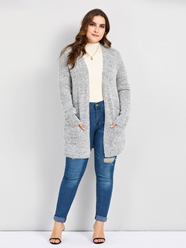 Plus Size Wrapped Fall Mid-Length Women's Cardigan
