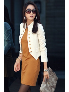 Fashion Solid Color Double Breasted Long Sleeve Blazer