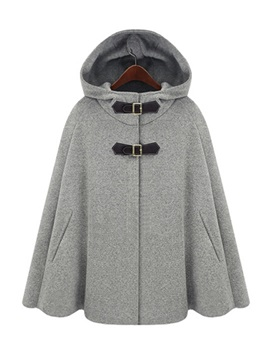 Stylish Pure Color Hooded Cape