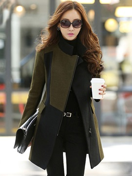 Color Block Chic Inclined Zipper Lapel Women's Overcoat