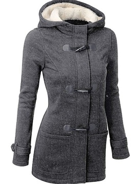 Splendid Horn Button Hooded Women's Overcoat