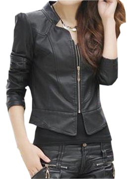 Special Collar Zipper Short Jacket