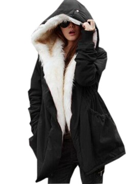 Long Sleeve Thick Solid Color Hooded Women's Overcoat