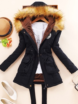 Multi-colored Hooded Cotton Women's Overcoat