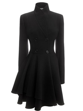 Stylish Asymmetrical Hem Slim Trench Coat