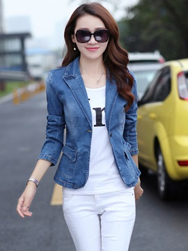 Slim Fit Casual Lapel One Button Denim Women's Blazer