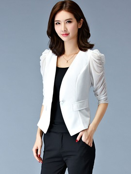 Cotton Stylish Puff Sleeves Sim Blazer