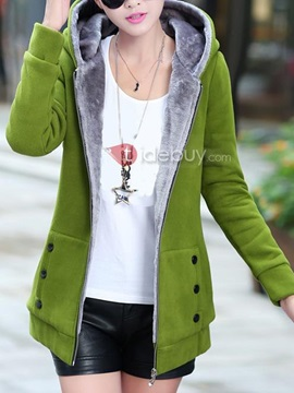 Plus Velvet Hooded Cotton OverCoat