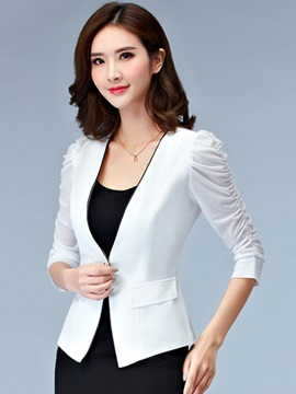 Stylish Pleated Sleeves One Button Women's Blazer
