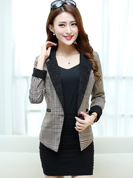 Chic Lace Lapel Short Blazer