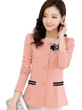 Stylish Bead Decoration Slim Blazer