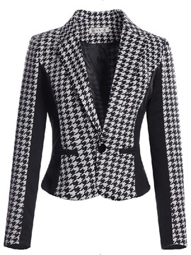 Chic Houndstooth Pattern Short Blazer