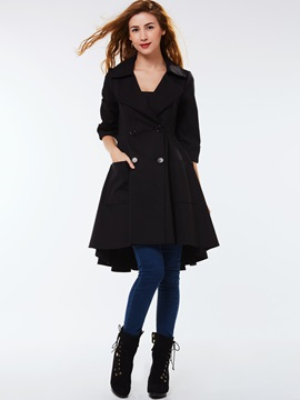 Stylish Peplum Mid-Length Overcoat