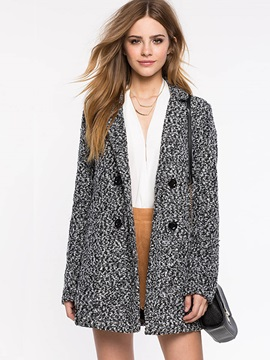 Stylish Double-Breasted Lapel Loose Women's Overcoat
