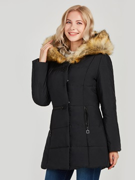 Hoodie Fur Pockets Mid-Length Women's Overcaot
