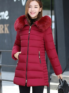 Simple Faux Fur Collar Mid-Length Cotton Overcoat