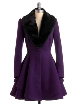 Stylish Faux Fur Collar Peplum Overcoat