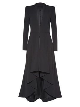 Stylish Wave Cut Long Overcoat