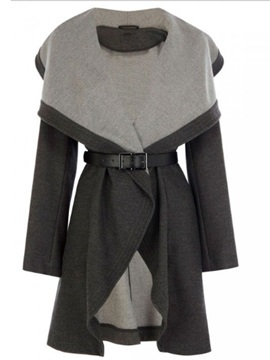 Stylish Notched Lapel Mid-Length Women's Overcoat