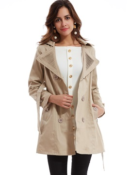 Stylish Double-Breasted Plain Trench Coat