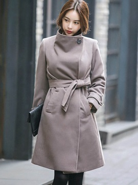 Stylish Belt Stand Collar Overcoat