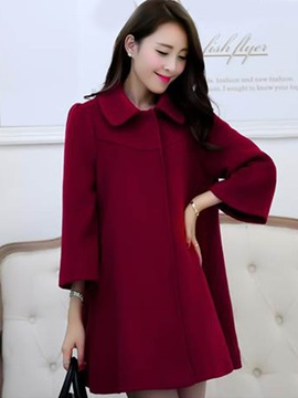 Stylish Solid Color Peter Pan Collar Overcoat