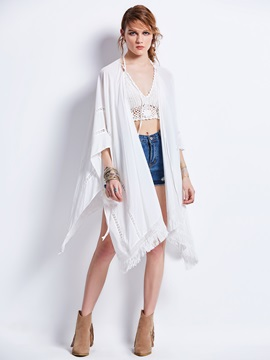 Loose Plain Batwing Sleeve Tassel Blouse