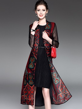 Chinese Style See Through Long Trench Coat
