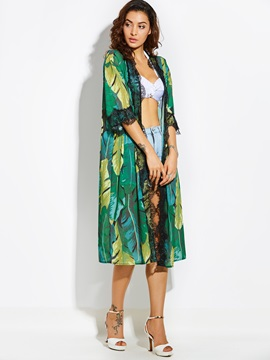 Thin Color Block Plant Print Cape