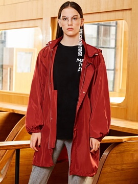 Plain Hooded Mid-Length Trench Coat
