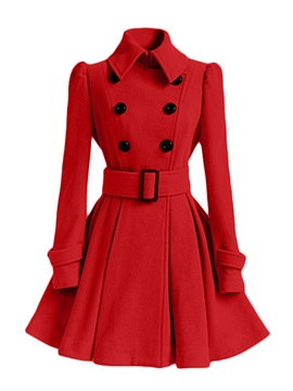 Plus Size Lapel Belt Overcoat