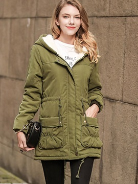 Plain Hooded Zipper Overcoat