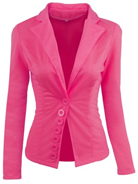 Notched Lapel Plain Button Irregular Blazer