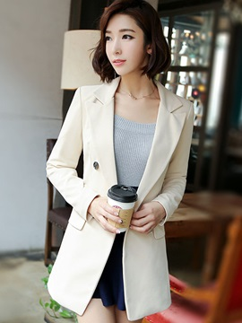Plain Double-Breasted Mid-Length Blazer