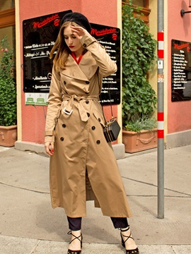 Long Sleeve Zipper Lapel Trench Coat
