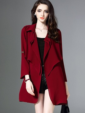 Plain Loose Notched Lapel Trench Coat