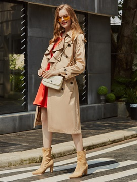 Double-Breasted Falbala Mid-Length Trench Coat