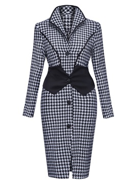 Slim Lapel Houndstooth Button Overcoat