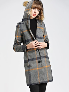 Chic Plaid Hooded Mid Length Women's Overcoat