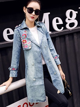 Notched Lapel Embroidery Denim Jacket