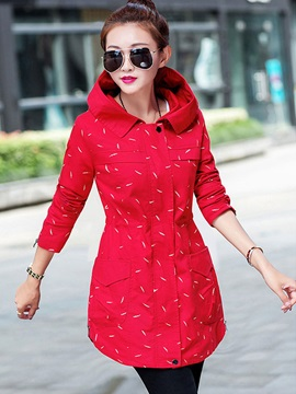 Hooded Slim Fashion long Sleeve Zipper Trench Coat
