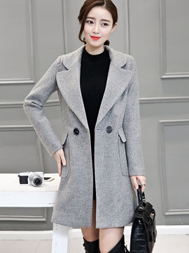 Fashion Mid-Length Sleeve Double-Breasted Overcoat