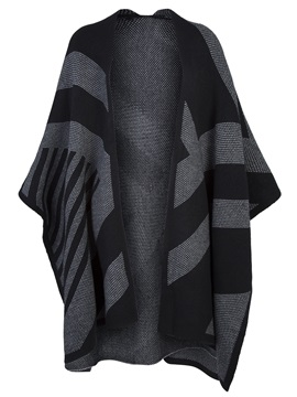 Color Block Stripe Wrapped Women's Cape