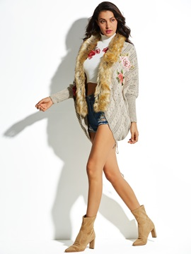 Flower Embroidery Wool Women's Knitwear